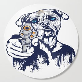 Certified Dog Lover?Here's a Unique t-shirt design with an illustartion of a Dog With a Gun T-shirt Cutting Board