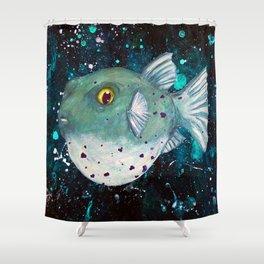 Friendly Green Fugu Redux Shower Curtain