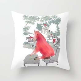 Farm Animals in Chairs #5 Horse Throw Pillow