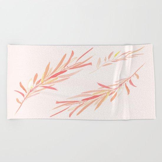 Eucalyptus Leaves Pink Beach Towel