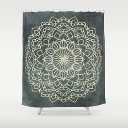 Sea Shimmer Mandala - Gold + Turquoise Shower Curtain