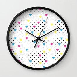 Pin Point Hearts CMYK Wall Clock