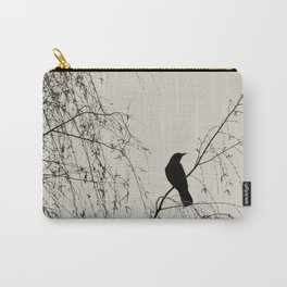 Crow in the Willow - Graphic Birds Series, Plain - Modern Home Decor Carry-All Pouch