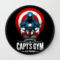 gym Wall Clocks featuring Capt's Gym by Corey Courts
