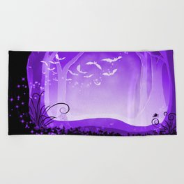 Dark Forest at Dawn in Amethyst Beach Towel