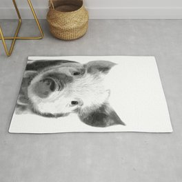 Black and white pig portrait Rug