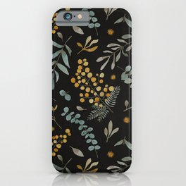 Australian native wattle eucalyptus watercolor floral black iPhone Case