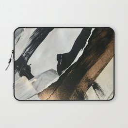 Stay | Collage Series 2 | mixed-media piece in gold, black and white + book pages Laptop Sleeve