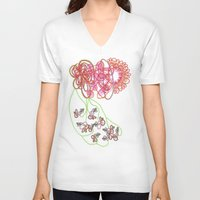 tequila V-neck T-shirts featuring Tequila Sunrise by Mary Holland