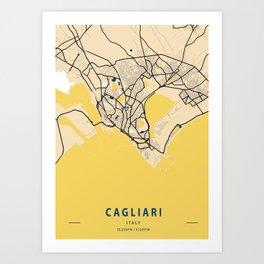 Cagliari Yellow City Map Art Print
