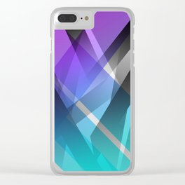 Transparent Abstract Geometric Shapes Purple and Teal Clear iPhone Case