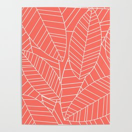 Coral Tropical Palm Leaves Pattern Poster