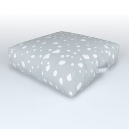 Pastel gray blue white watercolor abstract snow polka dots Outdoor Floor Cushion
