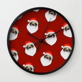 Santa Pugs Wall Clock