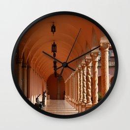 Pink Marble Arcade At Ringling Museum Wall Clock