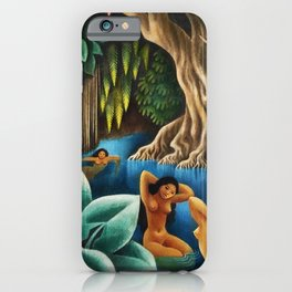 Bathing in the River by Miguel Covarrubias iPhone Case