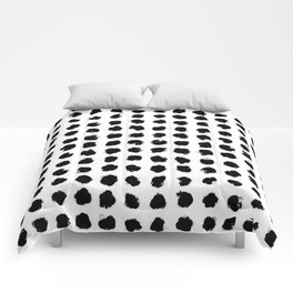 Black and White Minimal Minimalistic Polka Dots Brush Strokes Painting Comforters