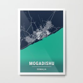 Mogadishu Blue Dark Color City Map Metal Print