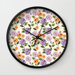 Rustic orange lavender ivory floral illustration Wall Clock