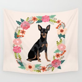 miniature pinscher floral wreath dog breed pet portrait pure breed dog lovers Wall Tapestry
