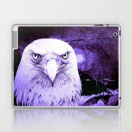 Art print: The Bald Eagle, the barbwire and the Blue flag Iris. Laptop & iPad Skin