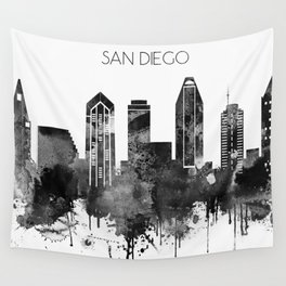 black and white watercolor san diego skyline wall tapestry