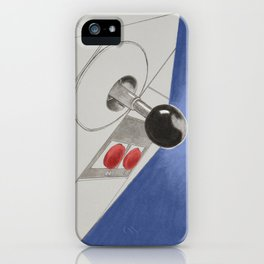 Classic Video Game Joystick in action drawing - Blue iPhone Case