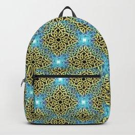 Chic Artistic Victorian Golden Trim Aqua Background  Backpack