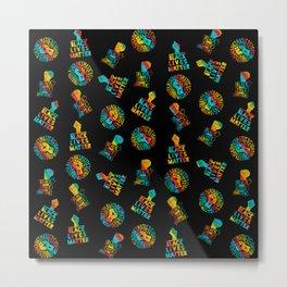 blm x gay pride rainbow flag - black lives matter seamless lgbt gay rainbow print pattern Metal Print