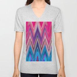 Bright Pink Teal Ikat Chevron Aztec Pattern Unisex V-Neck