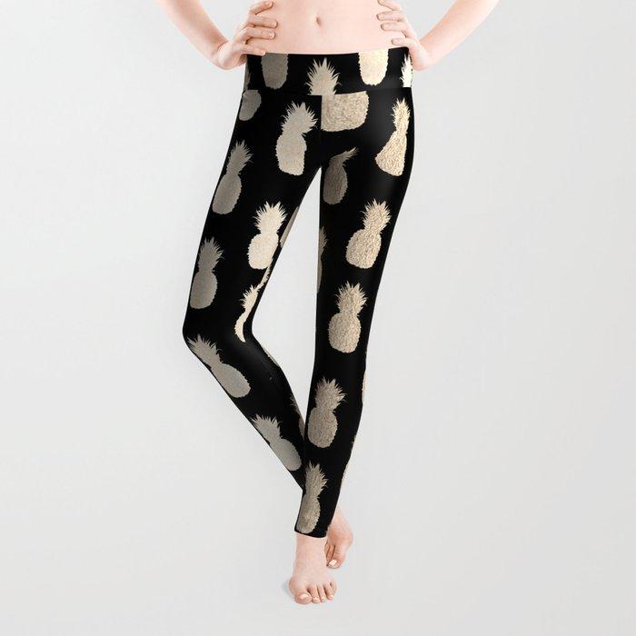 Gold Pineapples Pattern Black Leggings