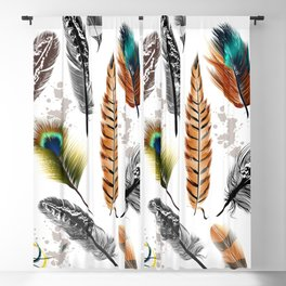 Seamless colorful feathers pattern  Blackout Curtain