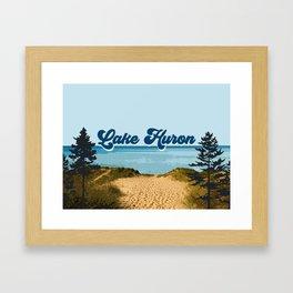 Lake Huron Retro Framed Art Print