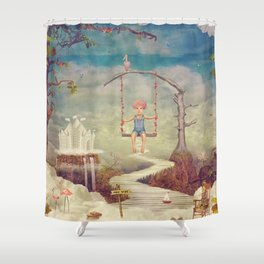 Mysterious city in sky Shower Curtain