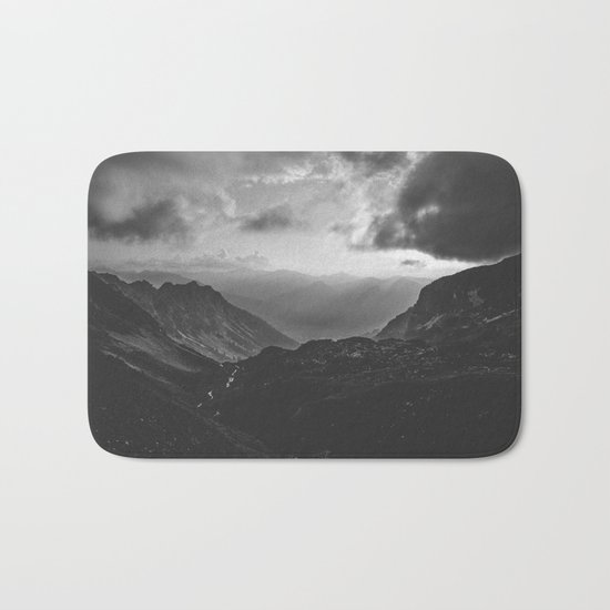 Valley - black and white landscape photography Bath Mat
