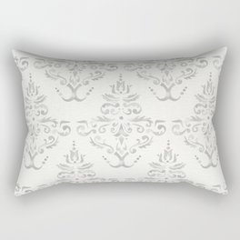 Hand Painted Watercolor Damask Pattern - Light Neutral Gray Rectangular Pillow