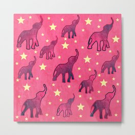 Elephants Stars Pattern Metal Print