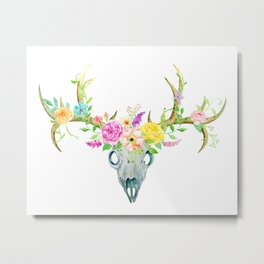 Watercolor Deer Skull Rose Bouquet Metal Print