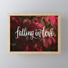 Falling in Love (1 of 3) // Fall Holiday Handlettering Colorful Leaves Calligraphy Modern Beautiful Framed Mini Art Print