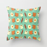 orange pattern Throw Pillows featuring Let's All Go And Have Breakfast by Teo Zirinis