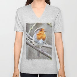 Angelic Robin Watercolor Unisex V-Neck