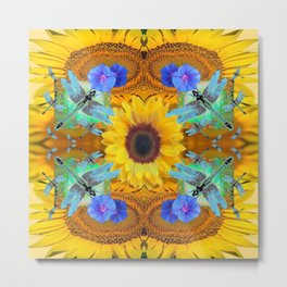 YELLOW SUNFLOWERS  DRAGONFLIES FLORAL ABSTRACT Metal Print