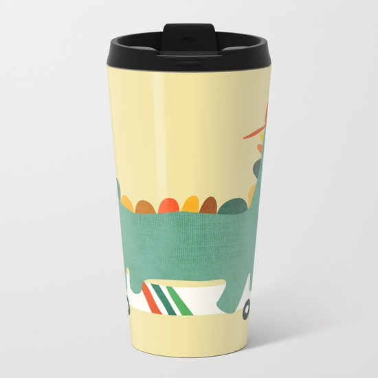 Dinosaur on retro skateboard Metal Travel Mug