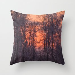 Winter Scene - Frosty Trees Against The Sunset #decor #society6 #homedecor Throw Pillow