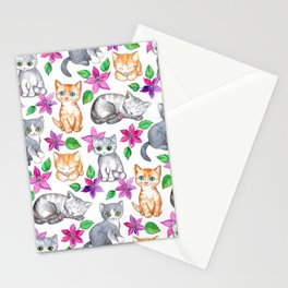 Kittens and Clematis - white Stationery Cards