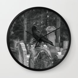 Crow In Shades Of Stone Wall Clock