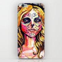 dia de los muertos iPhone & iPod Skins featuring Dia De Los Muertos by Liz Haywood