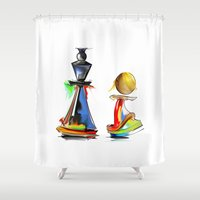 chess Shower Curtains featuring chess by tatiana-teni