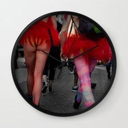 Two Women Wearing Revealing Skirts in the Street, A Wall Clock