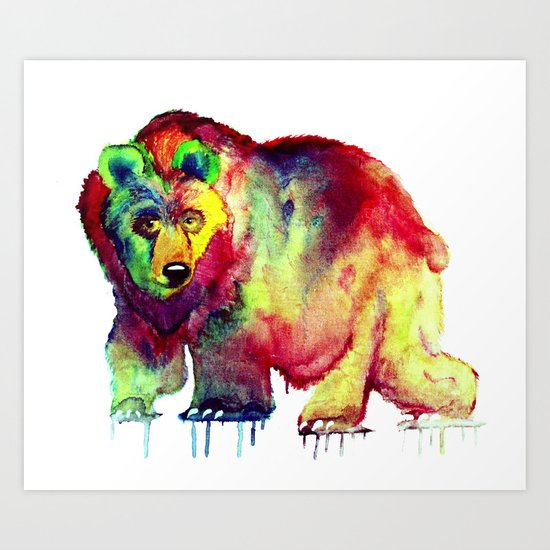 Coloured Bear Art Print